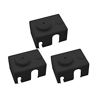 3D Printer Silicone Sock, Heater Block Cover, V6 PT100 Hotend Insulation, Black, 3 Pack.
