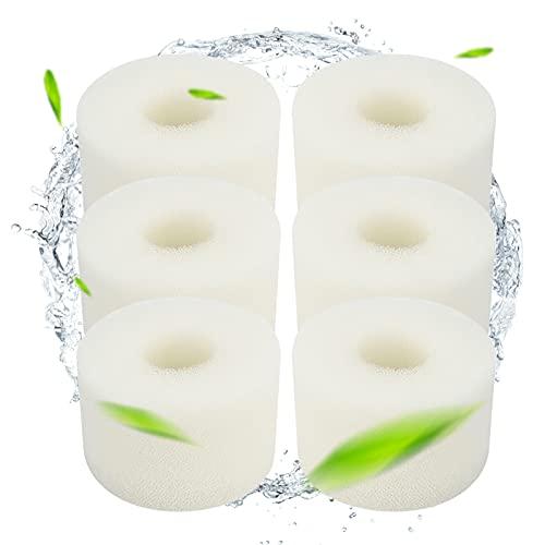 Schwimmbad Filter, Fmlkic 6 Stück Filterkartusche für Intex Typ S1, Wiederverwendbarer Schwimmbecken Filter Waschbarer Schwammfilter Schaumstofffilter Filterschwamm für Pool, Weiß