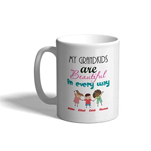 Taza de café personalizada 11 onzas Mis nietos son hermosos en todos los sentidos Taza de té para niños y abuelos