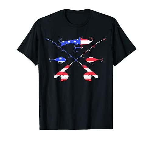 Diseño de regalo de bastones y señuelos de pesca de hielo con bandera americana Camiseta