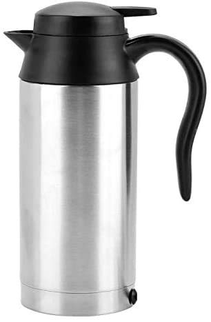 Gymqian Tea Cafetera Cafetera Portátil Acero Inoxidable Copa de Calefacción Taza Calentador de Agua Botella de Calentador de Agua para Té Café Bebida Carro de Coche Protección del m