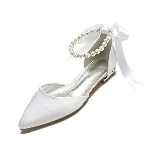 LLBubble Women Comfort Flat Satin Pearls Wedding Bridal Shoe, Ivory, Size 8.0