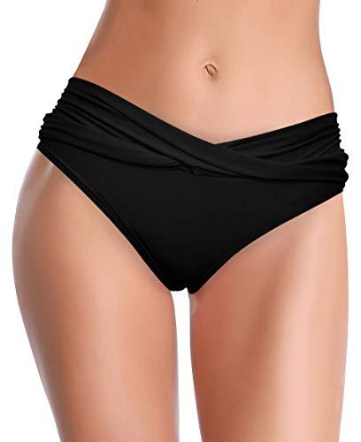 SHEKINI Damen Bikinihose Retro Ruched Bauchweg Klassisch Schwarze Badehose Strandhose Grosse Grössen für Frauen (Small, Schwarz)