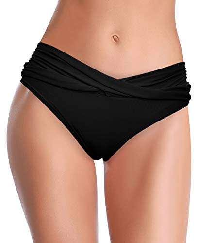 SHEKINI Damen Bikini Hose Raffung Bauchweg Badehose V from Eleganz Strandhose Grosse Grössen XXL für Frauen (Medium, Schwarz)
