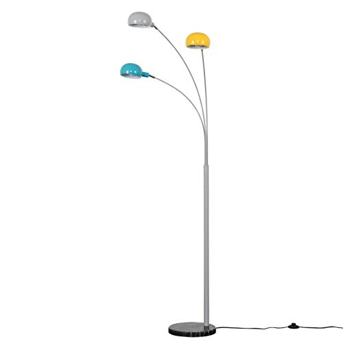 Modern 3 Way Grey Metal & Black Marble Base Curva Floor Lamp with Yellow, Blue & Grey Dome Shades - Complete with 4w LED Bulbs [3000K Warm White]