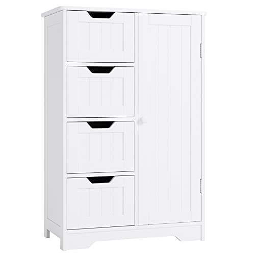Bathroom Floor Cabinet, Side Storage Organizer Cabinet with 4 Drawer and 1 Cupboard Freestanding Unit for Homes & Office