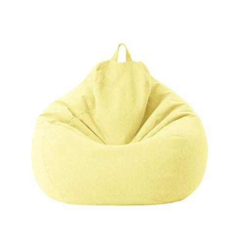 Geagodelia Copertura per Poltrona a Sacco Multicolori Grande Bean Bag Fodera per Sedia a Sacco in Tinta Unita Morbida e Comoda (Giallo chiaro, 70 * 80cm)