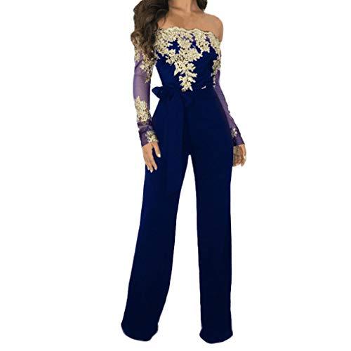 JERFER Combinaison Femme Combi-Short en Dentelle avec épaule et Culotte Large Combi-Pantalon Jumpsuit Rompers