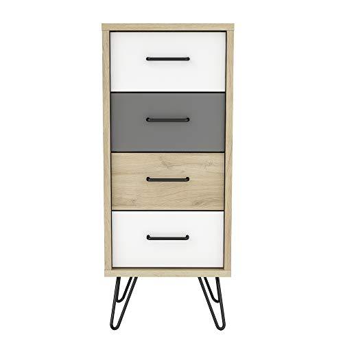 Demeyere – Cómoda con 4 cajones Estilo escandinavo Retro – Mueble de Almacenamiento Tipo cómoda – Colección Filea
