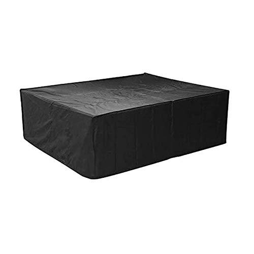 HSBAIS Funda Mesa Jardin, al Aire Libre Anti-UV Cubierta de Muebles de Jardín Impermeable Prueba de Viento Protectora para Muebles de jardín para Mobiliario de Exterior Mesa,Black_155x115x65cm