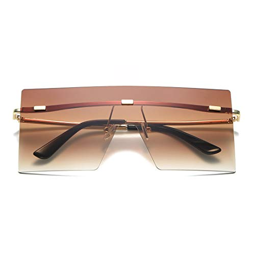 LKEYE - Square Oversized Sunglasses Flat Top Chic Big Shades For Women Men LK1719 C3 Brown/Gold