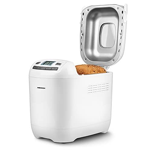 MEDION Brotbackautomat 650 Watt, 1000g, 12 Backprogramme, 3 Versch. Bräunungsgrade, Warmhaltefunktion, MD 18636 weiß