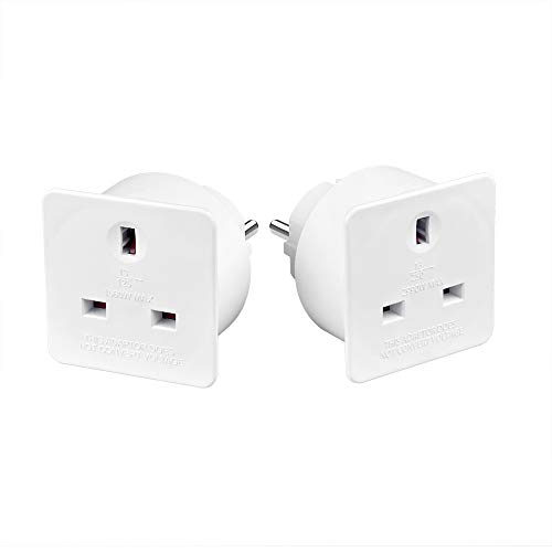 AmazonBasics Set of Two UK to Europe Travel Adaptors, White