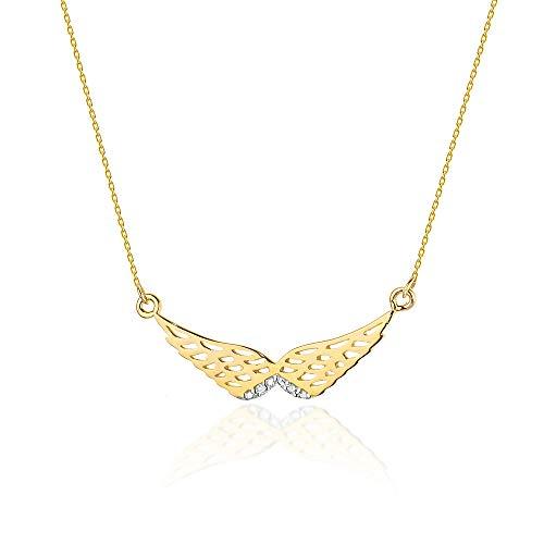Collar de diamantes o cadena de oro para mujer Zlocisto Muestra585 , con diamantes 0,01ct H/Si Collar atemporal y elegante en una caja de