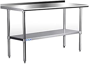 Stainless Steel Table for Prep & Work 24 x 60 Inches, NSF Commercial Heavy Duty Table with Undershelf and Backsplash for Restaurant, Home and Hotel