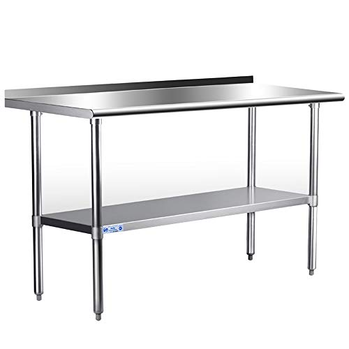 Stainless Steel Table for Prep & Work 24 x 48 Inches, NSF Commercial Heavy Duty Table with Undershelf and Backsplash for Restaurant, Home and Hotel