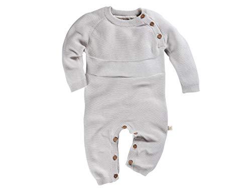 Bio Baby Strickoverall 100% Bio-Baumwolle (kbA) GOTS zertifiziert, Hellgrau Melange, 62/68