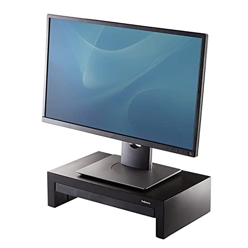 Fellowes Designer Suites - Soporte elevador para monitor de ordenador, ajustable en altura, incorpora bandeja de almacenamiento,color negro