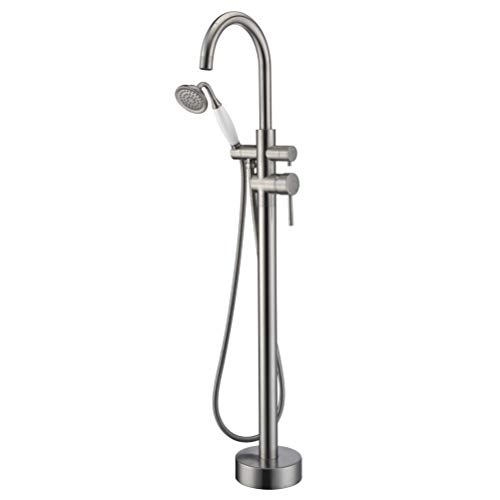 Freestanding Bathtub Faucet Tub Filler Brushed Nickel High Flow Rate 11.9GAL Floor Mounted Faucets with Hand Shower Mount LLGG