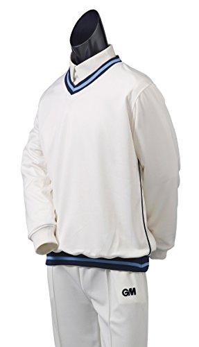 GM Cricket Teknik Sweater Homme, Bleu Marine/Ciel/Bleu Marine, XL