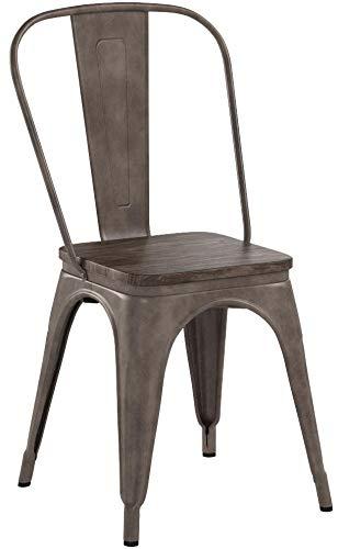 Buschman Metal Dining Chairs, Indoor/Outdoor and Stackable, Set of 4 (Bronze with Wooden Seat)
