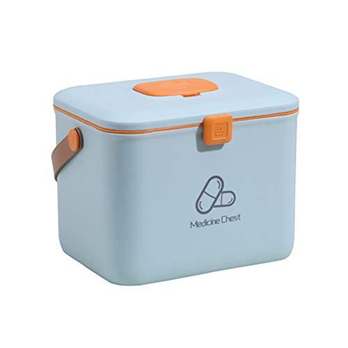 Suszian Große Kapazität tragbare Medizinbox Aufbewahrungsbox, tragbare Medizinbox Organizer Erste Hilfe Kit Notfall-Utensilien … (Blau, Groß)