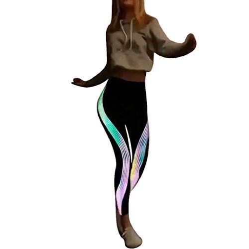 Leggings Mujer Fitness 2020 SHOBDW Tira Reflectante Arco Iris De Neón Leggings Deporte Mujer Gimnasio Correr Yoga Deportivos Pantalones Chandal Mujer