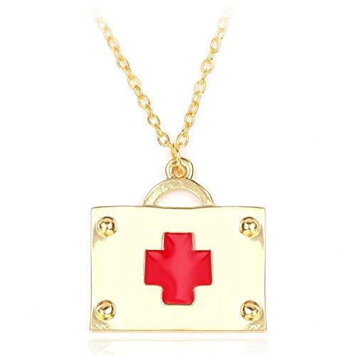 Fnito Halskette Arbeiten Sie Lange Halsketten Erste-Hilfe-Ausrüstung hängende Halsketten-Farben-rote Emaille-Schmucksachen für Krankenschwester- / Doktor-Halskette um Geschenk