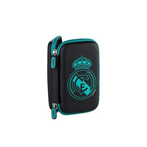 Real Madrid Estuche tecnológico con cremallera color negro con escudo en color verde