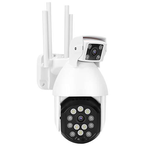 Cámara de seguridad 1080P WIFI Lente dual Seguimiento automático Cámara sirena de visión nocturna a todo color Monitoreo profesional Sistema inalámbrico de seguridad para el hogar (Enchufe de