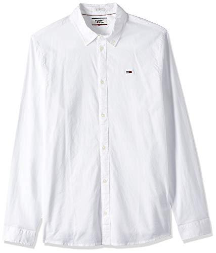 Tommy Jeans Herren TJM Stretch Oxford Shirt Freizeithemd, Weiß (White 100), Large