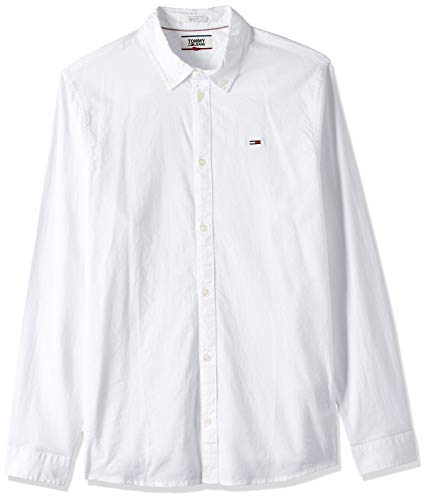 Tommy Hilfiger TJM Stretch Oxford Shirt Camisa, Blanco (White 100), Large para Hombre
