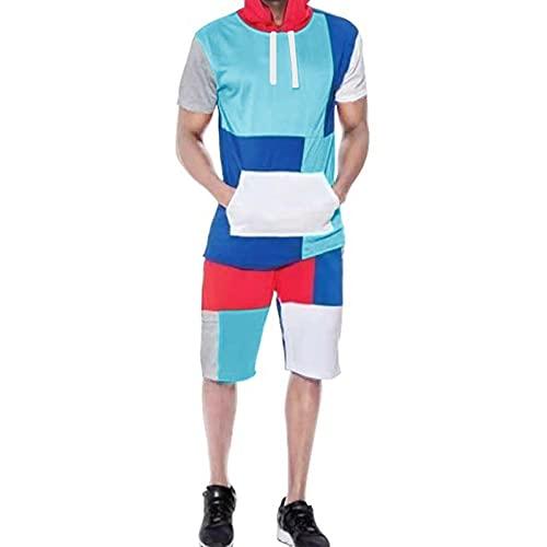 Chándal para Hombres Soodie De Manga Corta Conjunto De Trotación, Gimnasio Casual Gimnasio Fondos Suit Jogger Gym Sudadera MAX 4XL Sky Blue-S