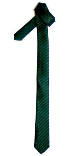 Retreez Corbata fina para hombres con textura de rayas Verde oscuro