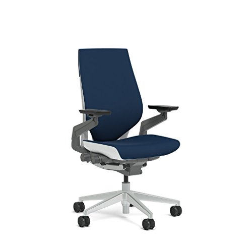 Steelcase Gesture Task Chair: Wrapped Back - Platinum Metallic Frame/Base/Seagull Accent - Adjustable Lumbar Support - Standard Carpet Casters