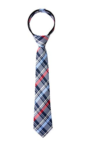 Spring Notion Boy's Tartan Plaid Woven Zipper Tie Navy Medium