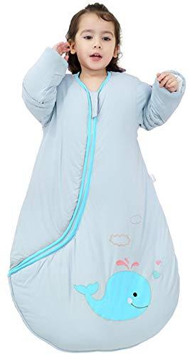 Chilsuessy - Saco de dormir para bebé (invierno, con relleno de manga larga, acolchado, para todo el año, para niños y niñas, color verde, talla M/3.5 tog, 100 cm/altura de 90 – 110 cm)