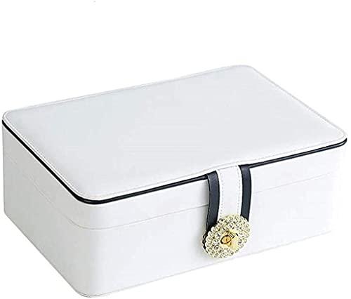 J&X Nuevo Anillo portátil del Organizador de la Capa Doble Reloj de Viaje Muestra de Cuero Caja de Almacenamiento para Pendientes Collar (Style : White)