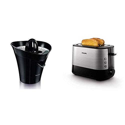 Philips HR2752/90 Essential Zitruspresse (85 Watt, Tropfstopp-Funktion) schwarz & HD2637/91 Toaster, Kunststoff, Schwarz/Edelstahl