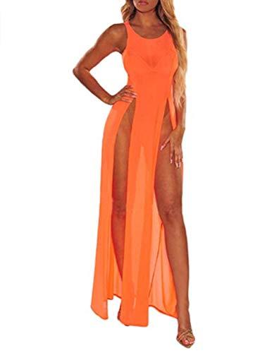 CHRONSTYLE Damen sehen durch Schiere Mesh ärmellose Seite hoch Geschlitzten Badeanzug vertuschen Strand Lange Maxi Tank Kleid Bikini vertuschen Top schwarz (orange, XL)