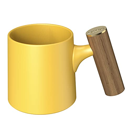 DHPO Artisan Series Matte Ceramic Coffee Mug Tea Cup T Shape with Large Beautiful Wooden Handle for Office and Home, 15oz, Yellow