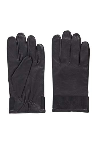 BOSS - Guantes Hipel de piel de napa granulado con brida con logotipo Negro 9