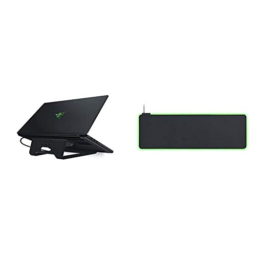 Razer Laptop Stand Chroma & Goliathus Extended Chroma - Extra Large, Soft XXL Gaming Mouse Mat with RGB Lighting (Cable Holder, Fabric Surface, Quilted Edge, Optimized for all Mice) Black