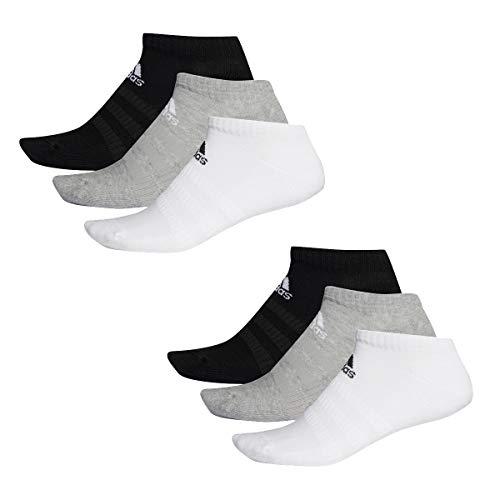 adidas 6 paar Performance No Show Sneaker Sokken Unisex korte sokken, kleur: zwart - wit - grijs, sokken & kousen: 43-45