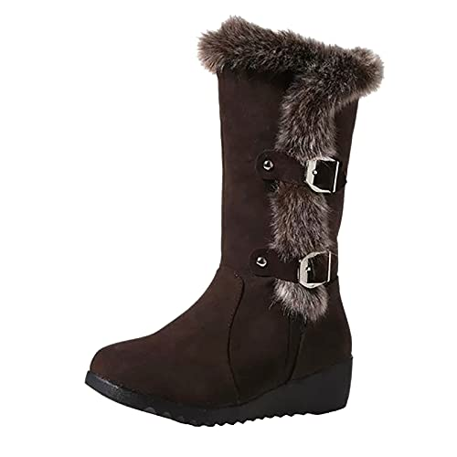 DKBL Snow Boots for Women Autumn and Winter Warm Ankle Boots Plush Boots Slope Heel Belt Buckle Middle Boots Brown