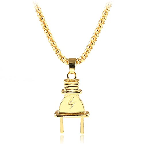 maozuzyy Collar Colgante Joyería Collar De Ocio De Moda, Colgante De Enchufe, Cadena Chapada En Oro, Personalidad, Collar Clásico Simple para Hombres, Dorado