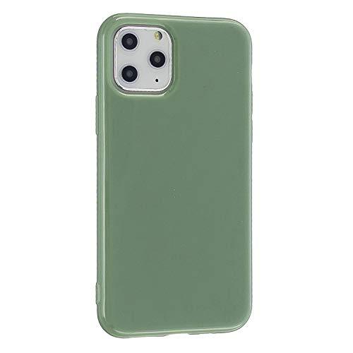 CrazyLemon Hülle für iPhone 11, Niedlich Volltonfarbe Gelee Design Weich Silikon Slim Dünn Back Bumper Handyhülle Stoßfest Schutzhülle - Erbsengrün