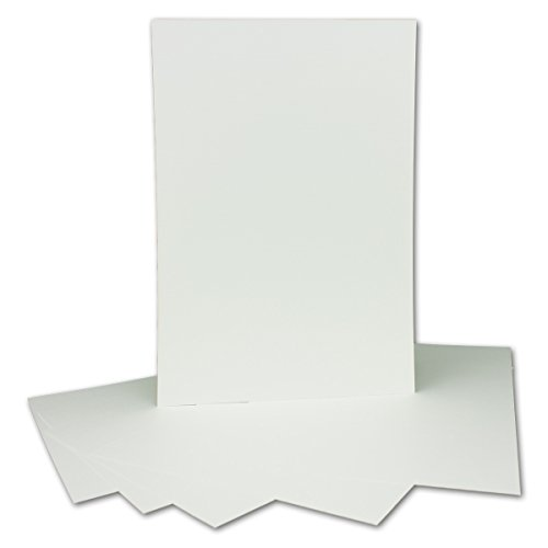 100 Stück DIN A4 Karton mit Leinenstruktur - Farbe: Weiss - 29,7 x 21 cm - 250 g/m² - Einzelkarte ohne Falz - Ideal zum Basteln, Scrapbooking, Grußkarte