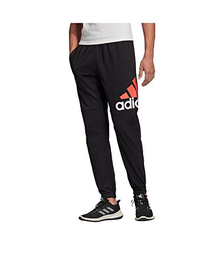 adidas Essentials Performance Logo Pantalones para Hombre, Hombre, Pantalones, BWD01, Negro/Rojo Solar, M