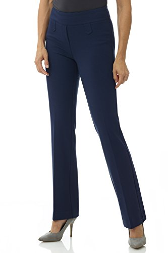 Rekucci Women's Secret Figure Pull-On Knit Bootcut Pant w/Tummy Control (16,Navy)